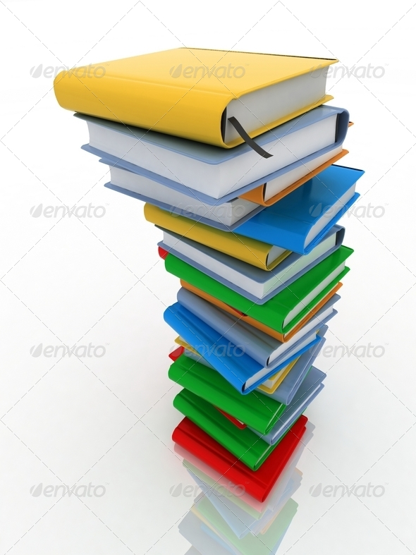 Pile of books isolated on white background - Stock Photo - Images