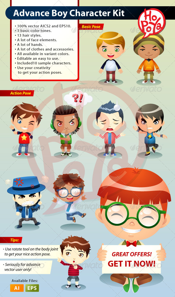 Advance Boy Character Kit - Characters Vectors