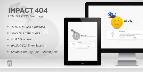 Impact 404 - HTML5 & CSS3 Error page