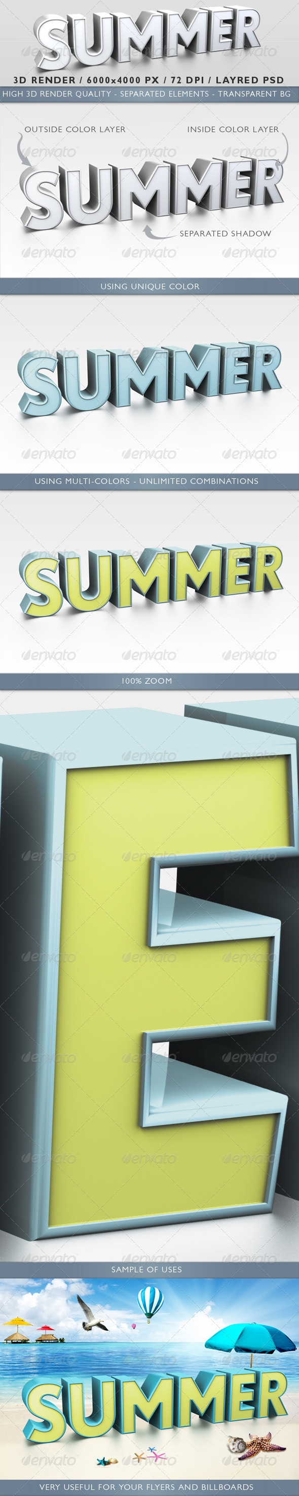 3D Render of a Summer Word - Text 3D Renders