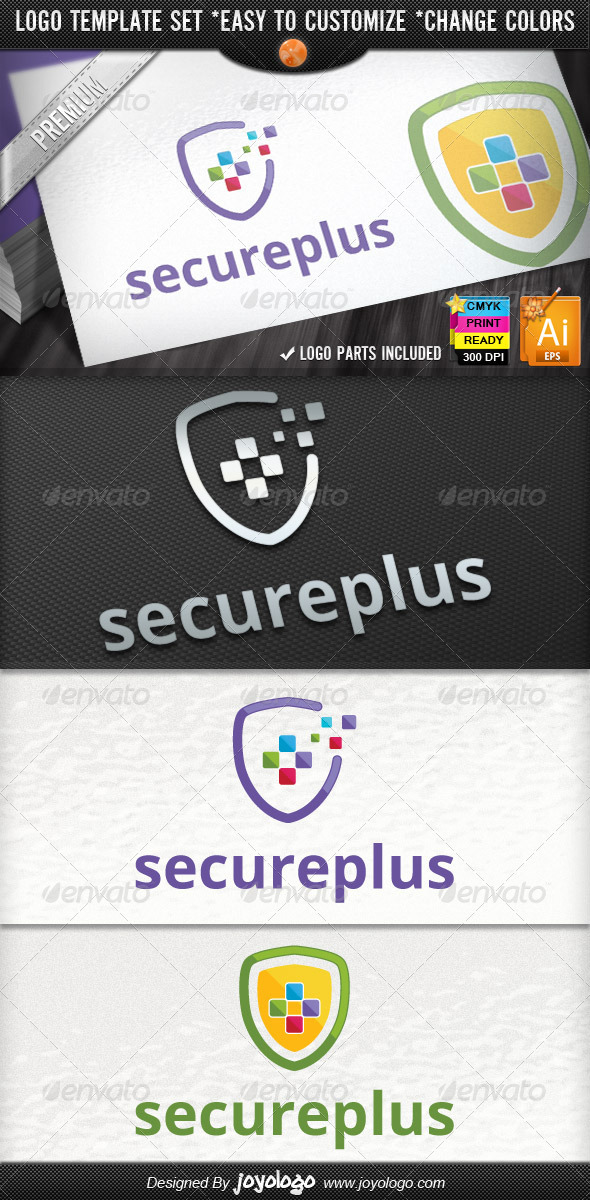 Pixel Plus Online Protect IT Security Logo Design