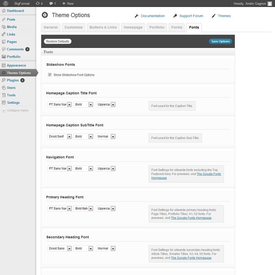 BigFormat - Responsive Fullscreen Wordpress Theme