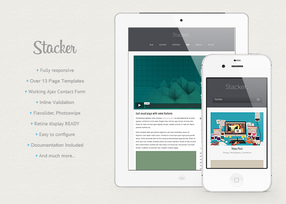 Stacker - Responsive HTML5/CSS3 Mobile Template