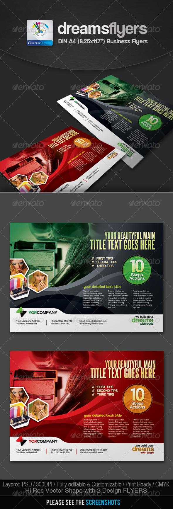 GraphicRiver Dark Multipurpose Business Flyers 2633866