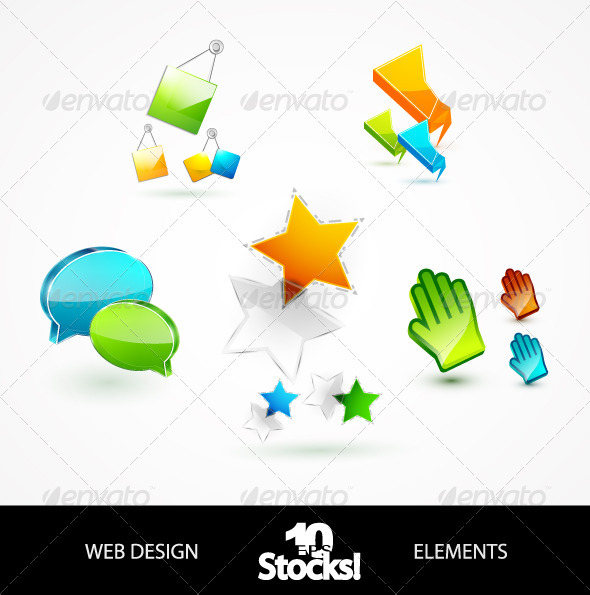 Glossy Web Design Elements - Web Elements Vectors
