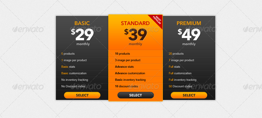 Clean pricing tables by nasirwd graphicriver for Ptable games