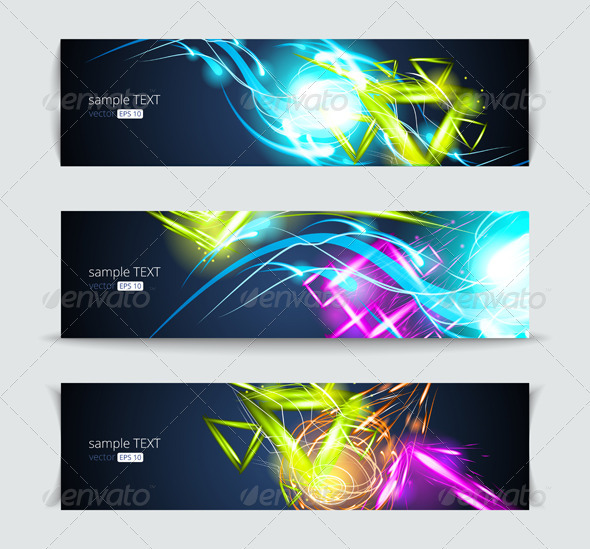 Set of banners and abstract headers with shadows - Web Elements Vectors