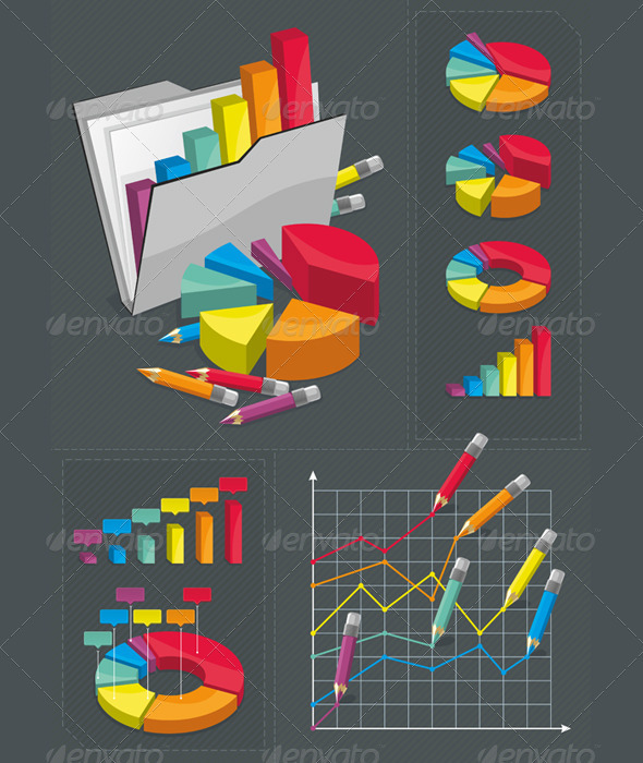 Infographic Set - Colorful Charts - Infographics