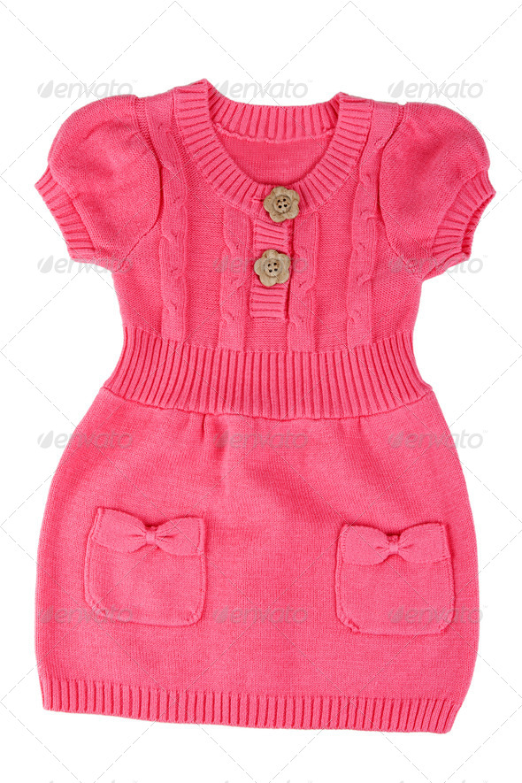 Red knitted baby dress - Stock Photo - Images