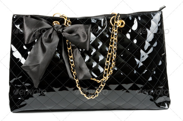 black glossy women's handbag - Stock Photo - Images