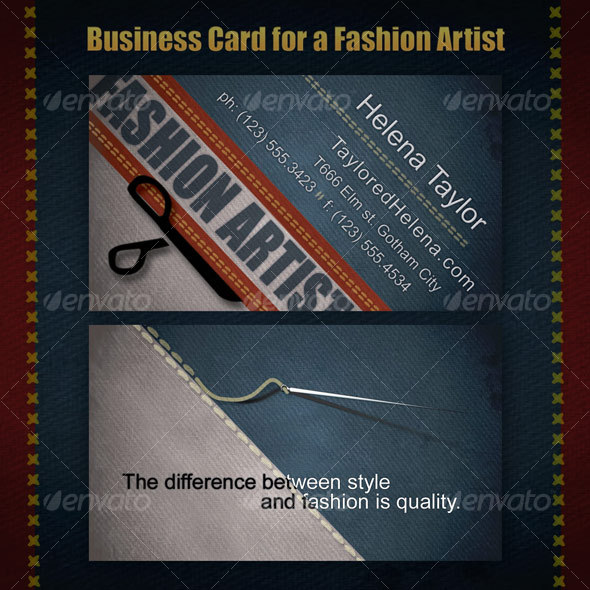 Business Card for Fashion Artists - Industry Specific Business Cards