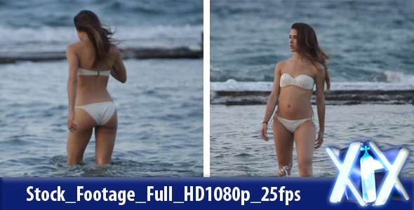 [VideoHive 2637222] Woman Walking in the Sea | Stock Footage