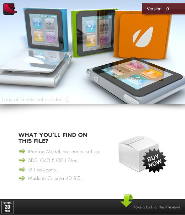 iPod Nano 6g - 3D Model - 3DOcean Item for Sale