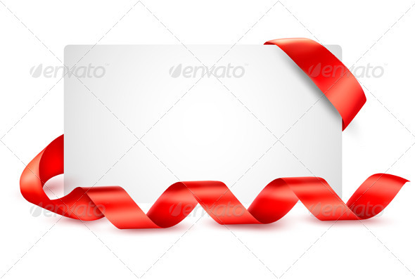 Card with Red Gift Ribbons - Backgrounds Decorative