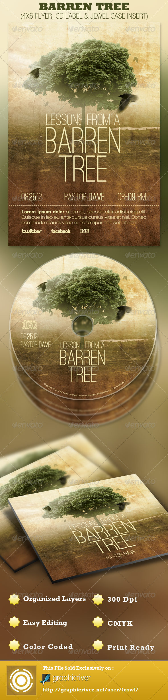 GraphicRiver Barren Tree Church Flyer and CD Template 2639529