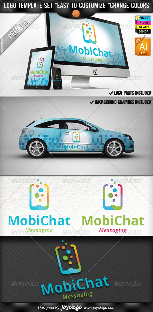 Cellular Phone Application Mobile Chat Logo Design - Objects Logo Templates