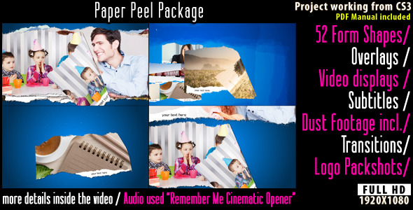 After Effects Project - VideoHive Paper Peel Package 2639675