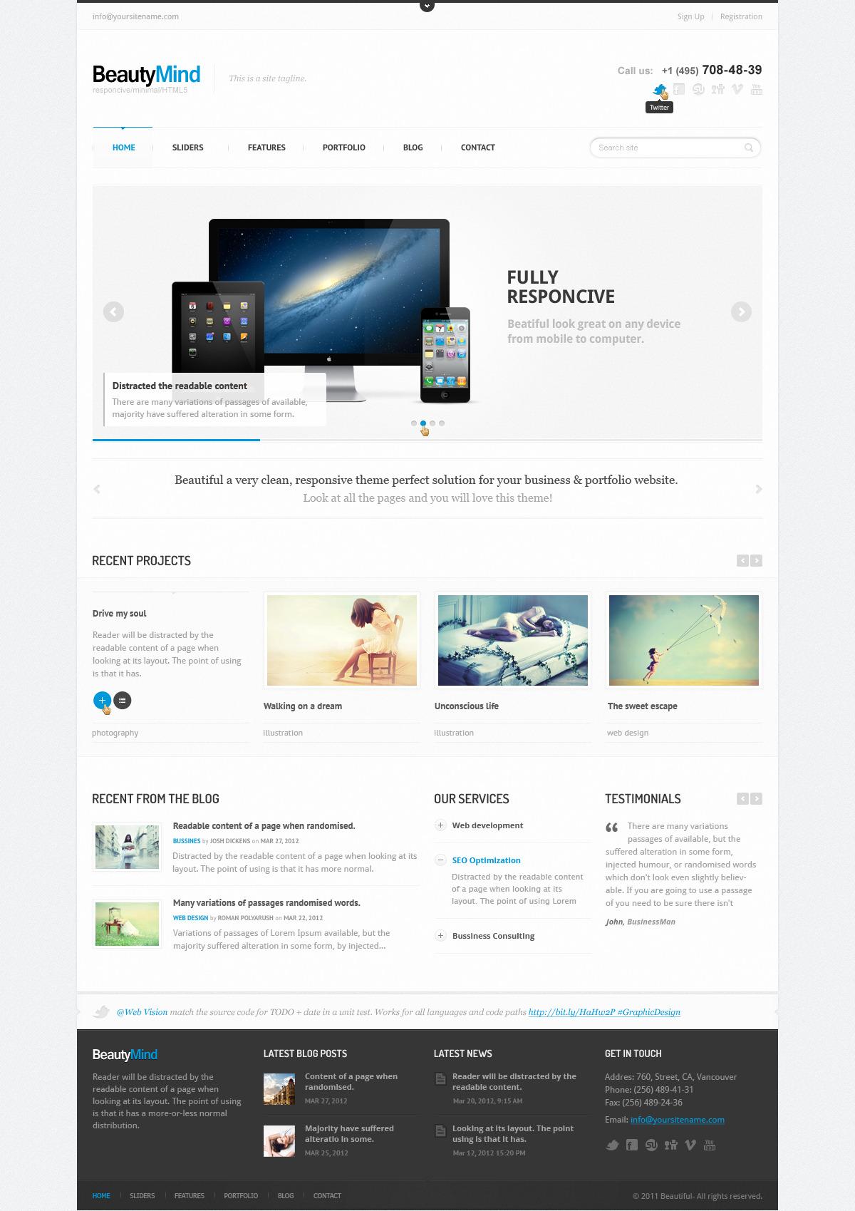 BeautyMind - Responsive HTML5 Template