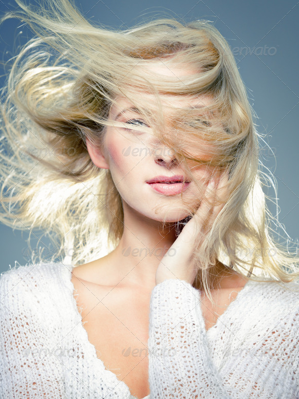 blowing hair - Stock Photo - Images