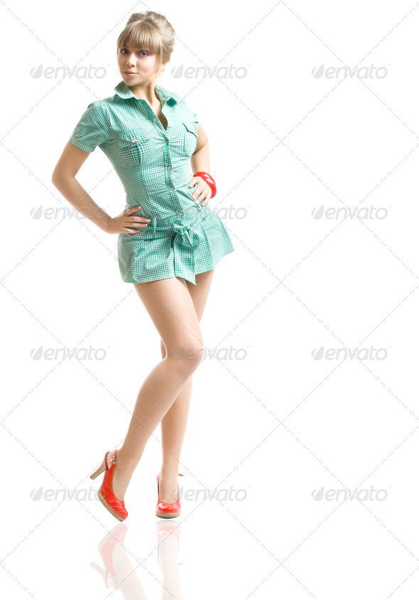 blonde in green dress - Stock Photo - Images