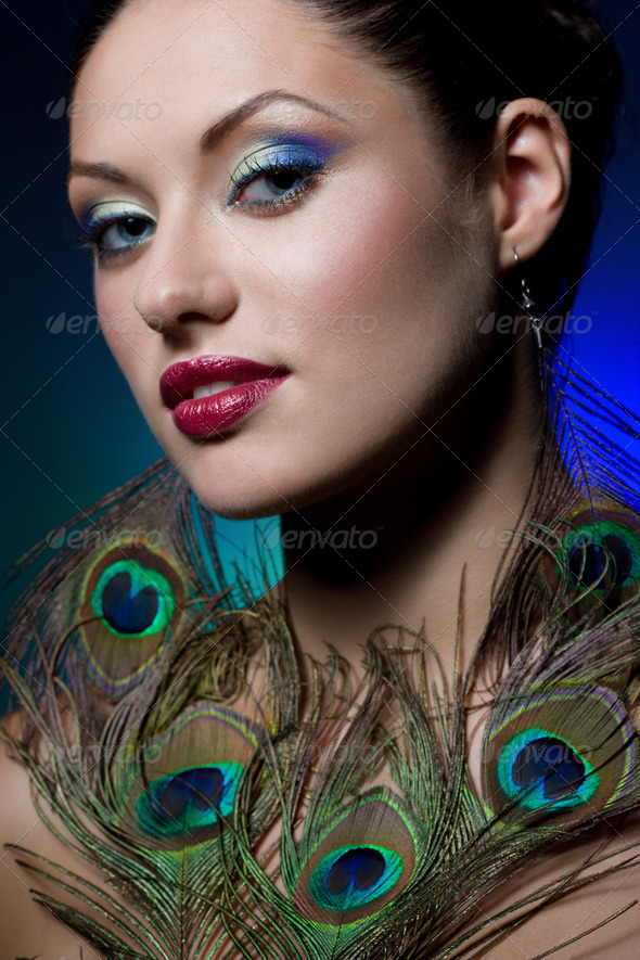 young brunette with creative makeup - Stock Photo - Images