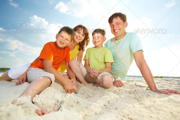 Family on resort - Stock Photo - Images