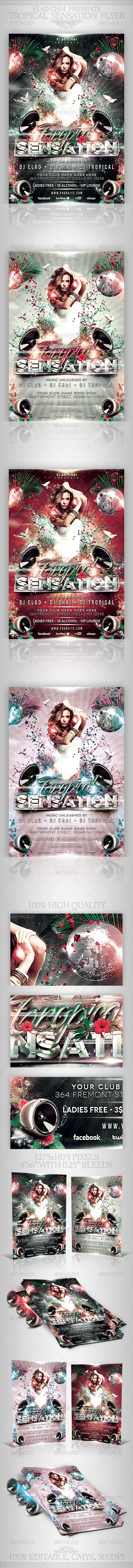 Tropical Sensation Party Flyer Template - Clubs & Parties Events