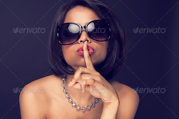 sexy brunette elegant woman - Stock Photo - Images