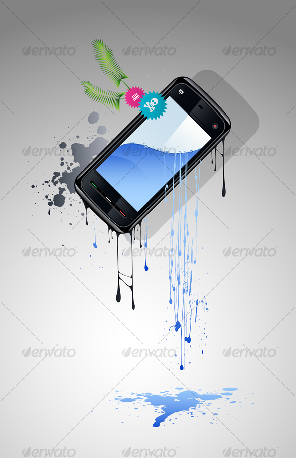 GraphicRiver Cell Phone With a Screen From Which Water Flows 95812