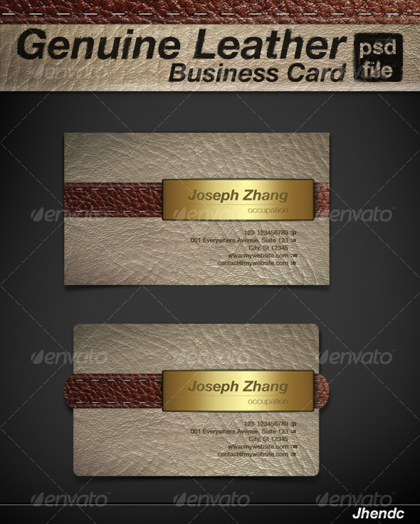Genuine Leather - Business Card - Retro/Vintage Business Cards