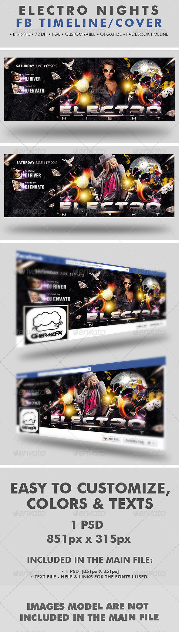 GraphicRiver Electro Nights Facebook Timeline Cover 2575447
