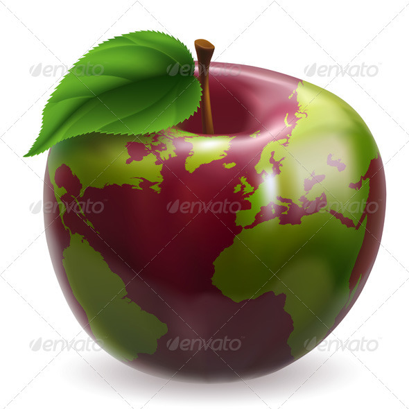 Globe Apple Concept Illustration