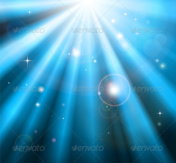 Bright blue light rays background - Miscellaneous Vectors