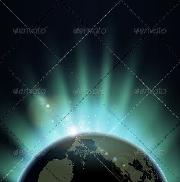 Sunburst over the world globe