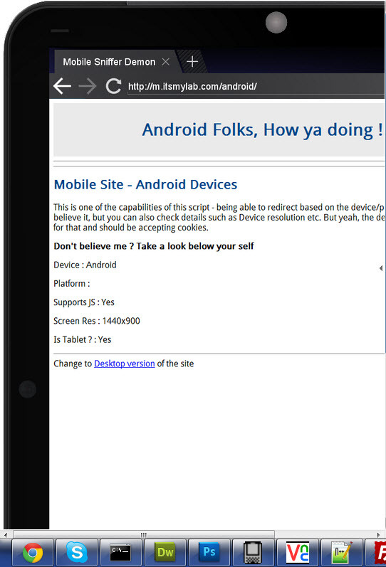 Mobile Sniffer Pro - Detection & Redirection Tool - Android Tablet being detected & redirected to Android specific page by the Sniffer
