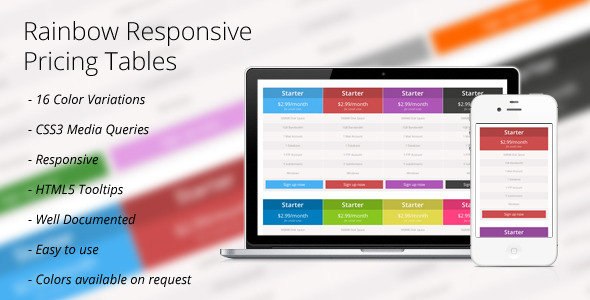 CodeCanyon CSS3 Rainbow Responsive Price Tables 2647447
