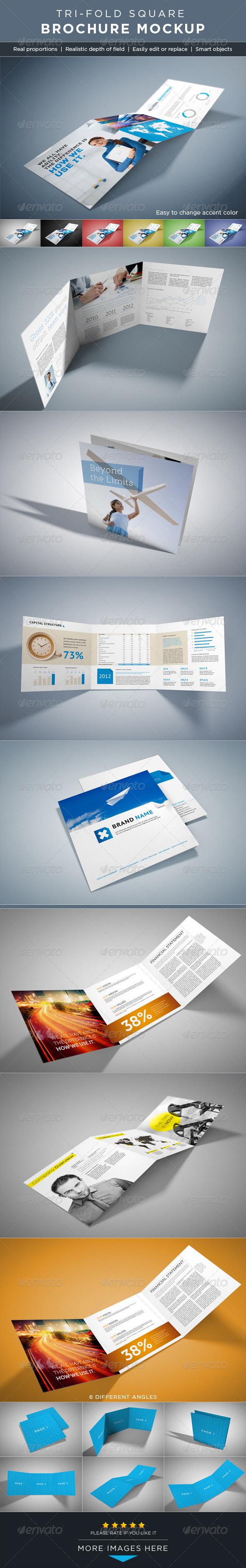 GraphicRiver Square Tri-Fold Brochure Mock-ups 2647523