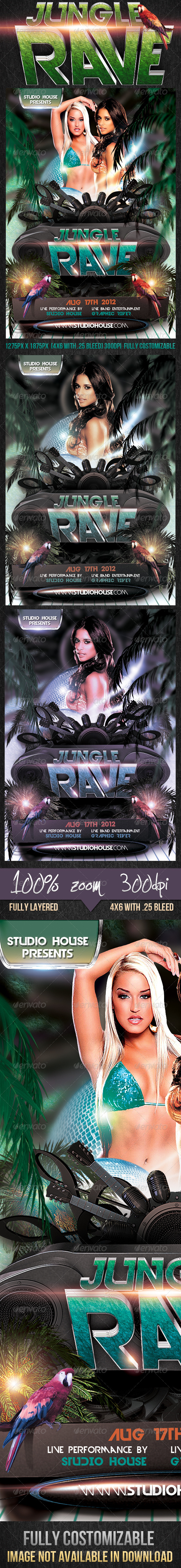 GraphicRiver Jungle Rave Party Flyer 2648770