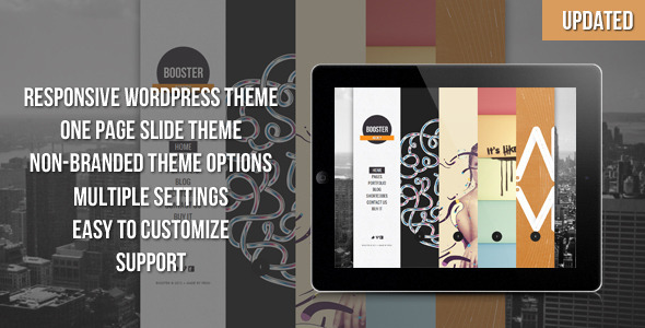 ThemeForest BOOSTERIUS Responsive one page slide WordPress theme 2547690