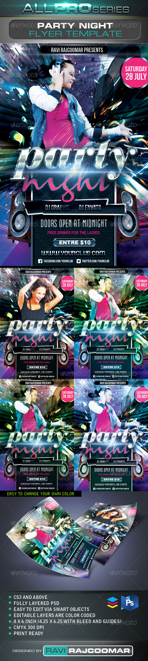 Party Night Flyer Template - Events Flyers