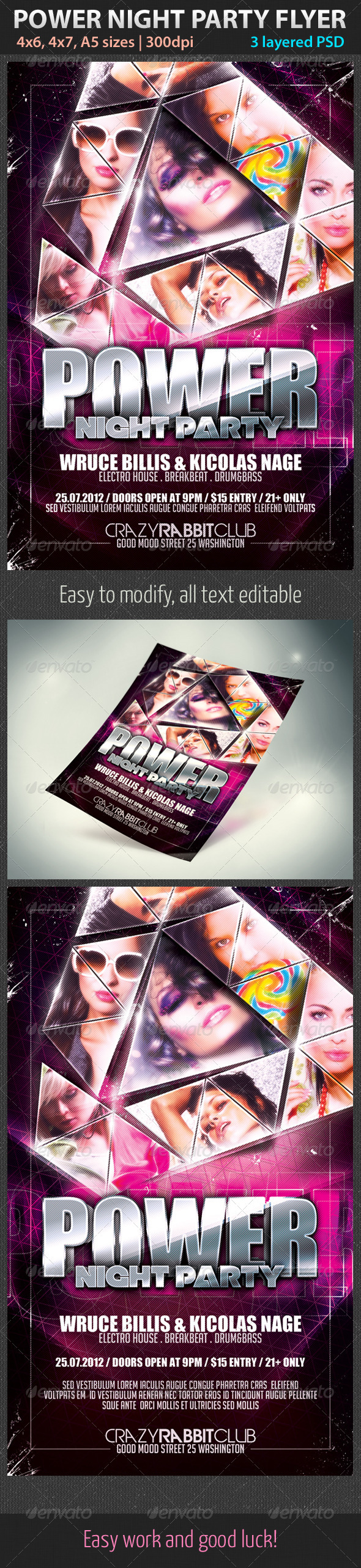 Power Night Party Flyer - Clubs & Parties Events