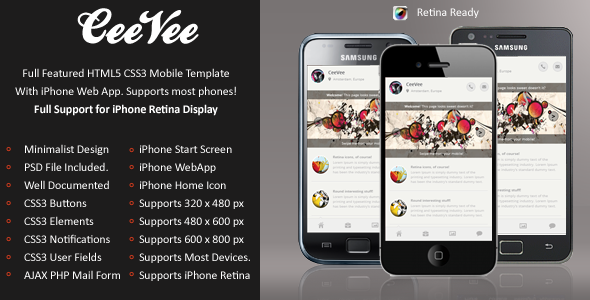 CeeVee Mobile Retina | HTML5 & CSS3 And iWebApp
