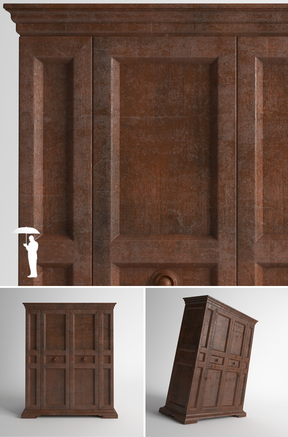 3DOcean Old wooden wardrobe 2652299
