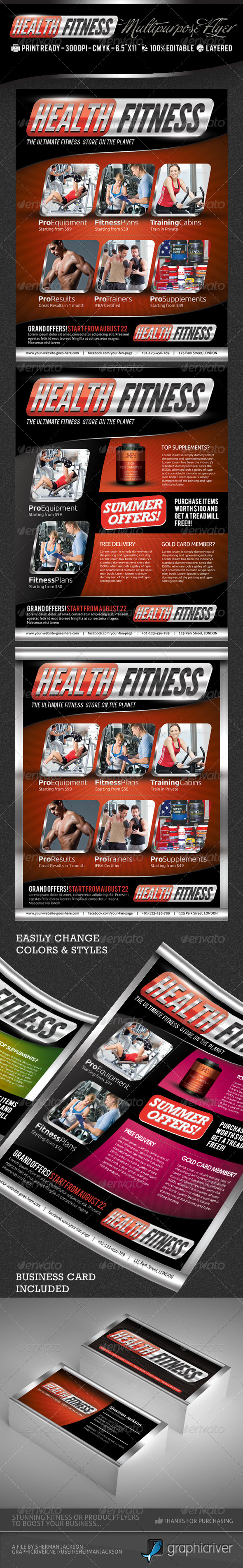 GraphicRiver Health & Fitness Pro Flyer & Business Card PSD 2652193