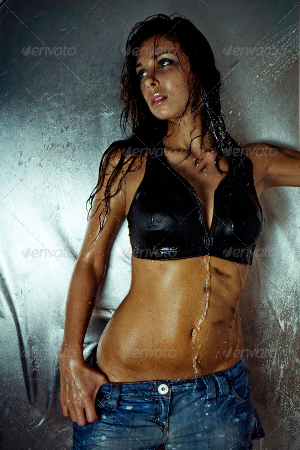 sexy model with wet skin  and hair - Stock Photo - Images