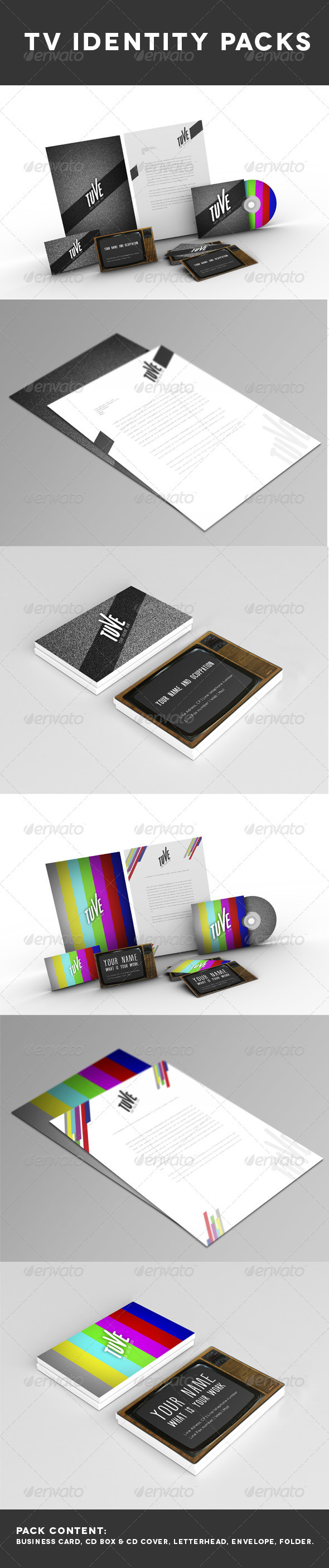 TV identity Pack x 2 - Stationery Print Templates
