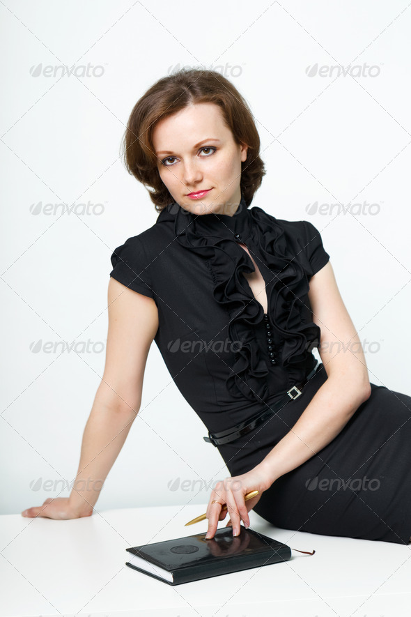 girl with a notebook - Stock Photo - Images