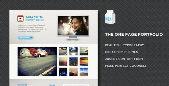 Milk - One page portfolio