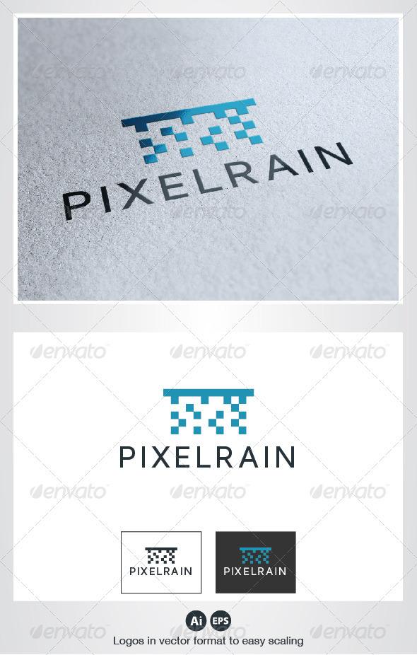 Pixel Rain Logo - Nature Logo Templates