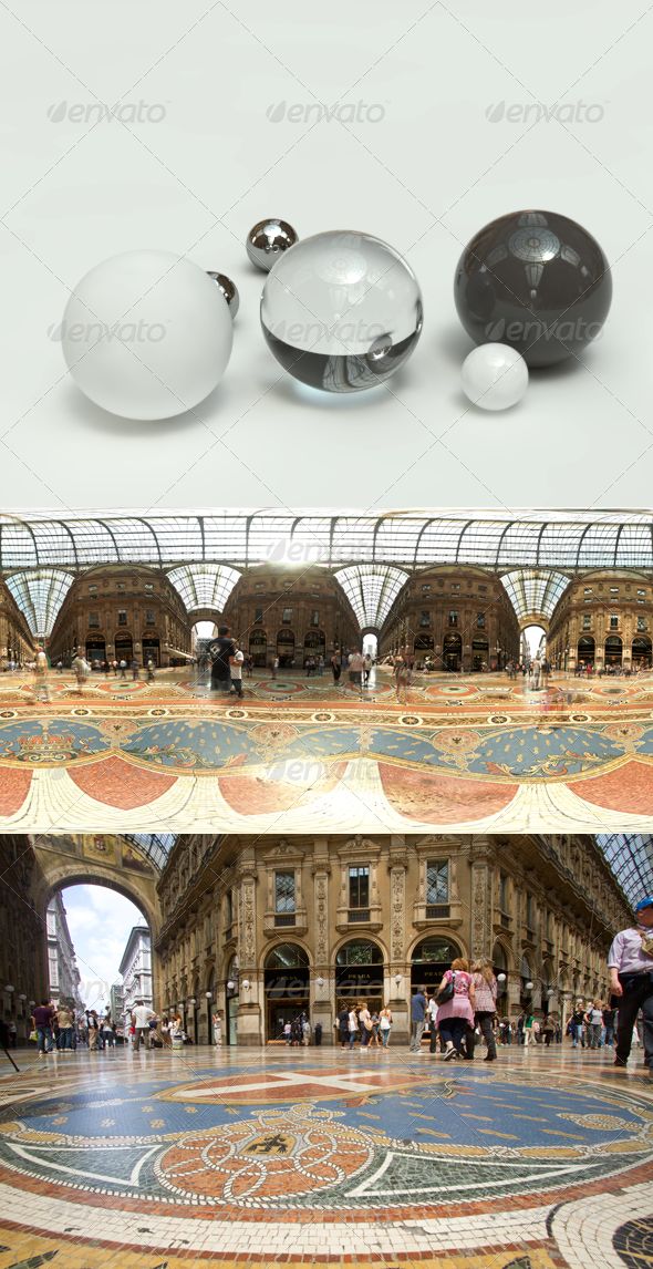 360 HDRI spherical panorama - Milan - Galleria - 3DOcean Item for Sale